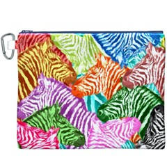 Zebra Colorful Abstract Collage Canvas Cosmetic Bag (xxxl)