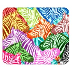 Zebra Colorful Abstract Collage Double Sided Flano Blanket (small)