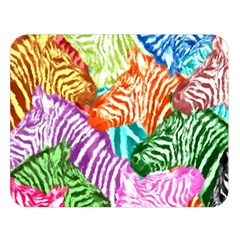 Zebra Colorful Abstract Collage Double Sided Flano Blanket (large)