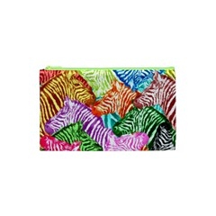 Zebra Colorful Abstract Collage Cosmetic Bag (xs)