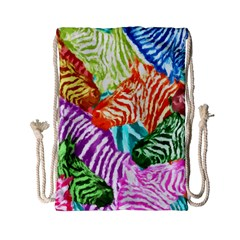 Zebra Colorful Abstract Collage Drawstring Bag (small)