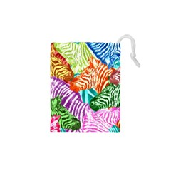 Zebra Colorful Abstract Collage Drawstring Pouches (xs)