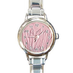 Shabby Chic Vintage Background Round Italian Charm Watch