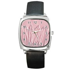 Shabby Chic Vintage Background Square Metal Watch