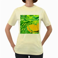 Zitro Abstract Sour Texture Food Women s Yellow T-Shirt