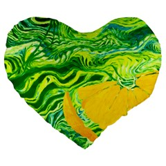 Zitro Abstract Sour Texture Food Large 19  Premium Heart Shape Cushions