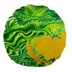 Zitro Abstract Sour Texture Food Large 18  Premium Flano Round Cushions
