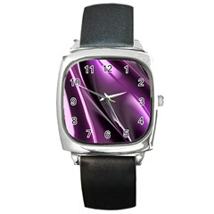 Fractal Mathematics Abstract Square Metal Watch