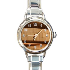 Architecture Art Boxes Brown Round Italian Charm Watch