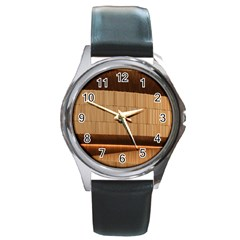 Architecture Art Boxes Brown Round Metal Watch