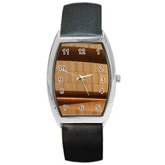 Architecture Art Boxes Brown Barrel Style Metal Watch