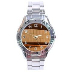 Architecture Art Boxes Brown Stainless Steel Analogue Watch