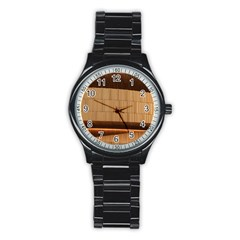 Architecture Art Boxes Brown Stainless Steel Round Watch