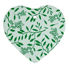 Leaves Foliage Green Wallpaper Ornament (heart)