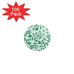 Leaves Foliage Green Wallpaper 1  Mini Magnets (100 Pack)