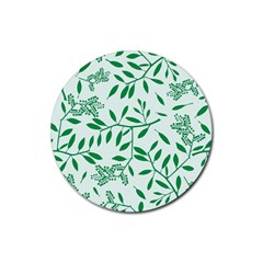 Leaves Foliage Green Wallpaper Rubber Round Coaster (4 Pack)