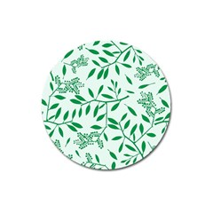 Leaves Foliage Green Wallpaper Magnet 3  (Round)
