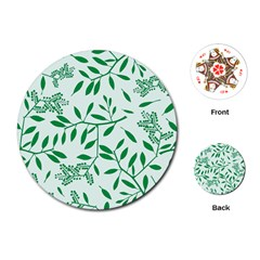 Leaves Foliage Green Wallpaper Playing Cards (Round)