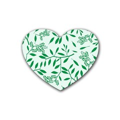 Leaves Foliage Green Wallpaper Rubber Coaster (heart)