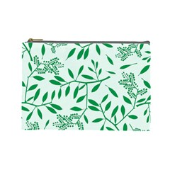 Leaves Foliage Green Wallpaper Cosmetic Bag (large)