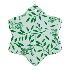 Leaves Foliage Green Wallpaper Snowflake Ornament (2 Side)