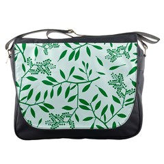 Leaves Foliage Green Wallpaper Messenger Bags