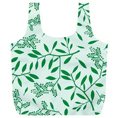 Leaves Foliage Green Wallpaper Full Print Recycle Bags (l)