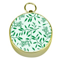 Leaves Foliage Green Wallpaper Gold Compasses