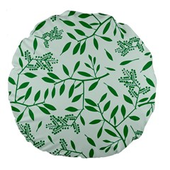 Leaves Foliage Green Wallpaper Large 18  Premium Flano Round Cushions