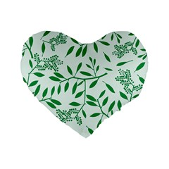 Leaves Foliage Green Wallpaper Standard 16  Premium Flano Heart Shape Cushions