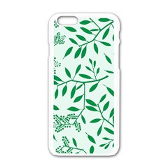 Leaves Foliage Green Wallpaper Apple Iphone 6/6s White Enamel Case