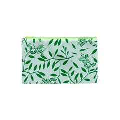 Leaves Foliage Green Wallpaper Cosmetic Bag (XS)