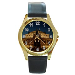 Dresden Semper Opera House Round Gold Metal Watch