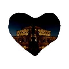 Dresden Semper Opera House Standard 16  Premium Flano Heart Shape Cushions