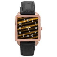 Ornament Stucco Close Pattern Art Rose Gold Leather Watch