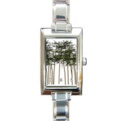 Bamboo Plant Wellness Digital Art Rectangle Italian Charm Watch
