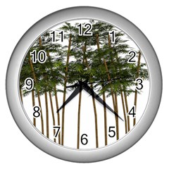 Bamboo Plant Wellness Digital Art Wall Clocks (silver)