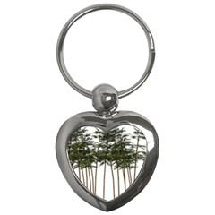 Bamboo Plant Wellness Digital Art Key Chains (heart)