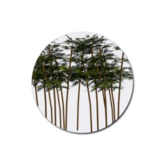Bamboo Plant Wellness Digital Art Rubber Round Coaster (4 Pack)