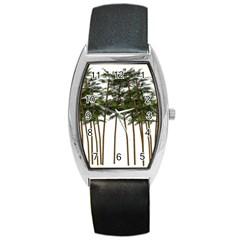 Bamboo Plant Wellness Digital Art Barrel Style Metal Watch