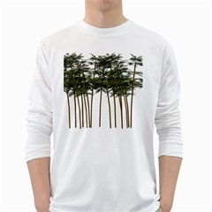 Bamboo Plant Wellness Digital Art White Long Sleeve T Shirts