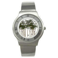 Bamboo Plant Wellness Digital Art Stainless Steel Watch