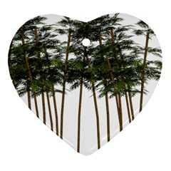 Bamboo Plant Wellness Digital Art Heart Ornament (2 Sides)