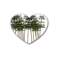 Bamboo Plant Wellness Digital Art Heart Coaster (4 Pack)
