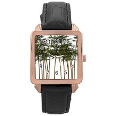 Bamboo Plant Wellness Digital Art Rose Gold Leather Watch