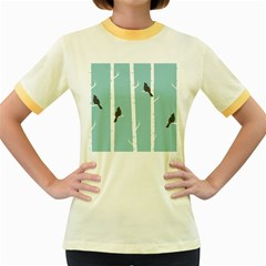 Birds Trees Birch Birch Trees Women s Fitted Ringer T Shirts