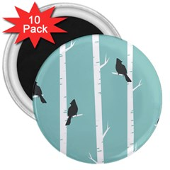 Birds Trees Birch Birch Trees 3  Magnets (10 Pack)