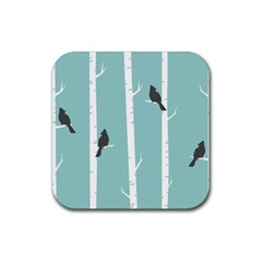 Birds Trees Birch Birch Trees Rubber Square Coaster (4 Pack)