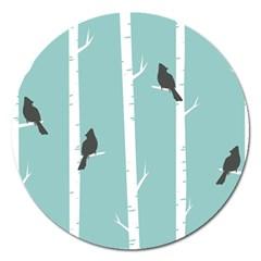 Birds Trees Birch Birch Trees Magnet 5  (round)