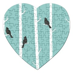 Birds Trees Birch Birch Trees Jigsaw Puzzle (heart)
